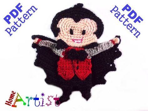 Dracula halloween crochet applique pattern crochet pattern