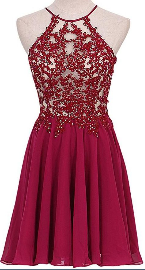 617bd141a9e1 Lovely Short Wine Red Lace Applique and Chiffon Party Dresses, Burgundy Homecoming  Dresses, Short Homecoming Dresses by prom dresses, $142.20 USD