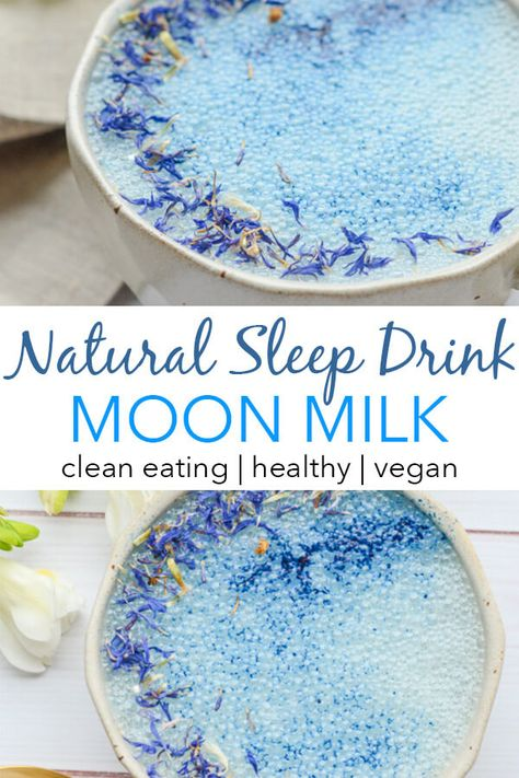 Goodnight Moon Milk Recipe with Blue Majik and Reishi This natural sleep drink may help you out at bedtime. This soothing Goodnight Moon Milk Recipe features Blue Majik and Reishi. Try it with y Yummy Drinks, Healthy Drinks, Yummy Food, Healthy Recipes, Healthy Food, Refreshing Drinks, Simple Recipes, Healthy Bedtime Snacks, Healthy Desserts