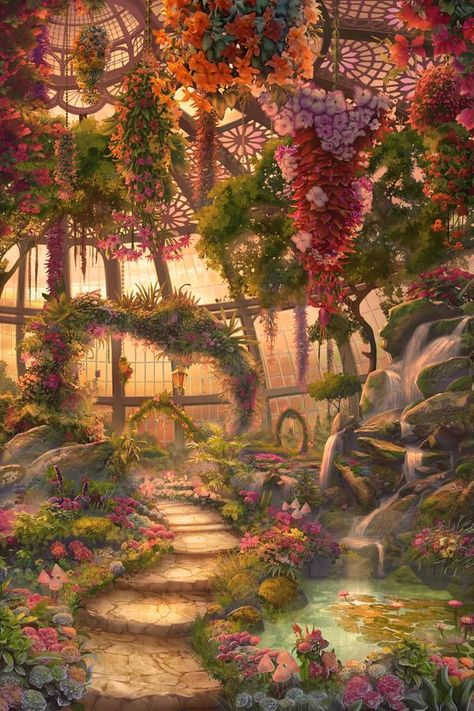 Tempel garden fantasy GlassHouse Evening by on DeviantArt Fantasy Artwork, Fantasy Art Landscapes, Fantasy Rooms, Fantasy Castle, Fantasy House, Landscape Artwork, Watercolor Landscape, Fantasy Queen, Dream Fantasy