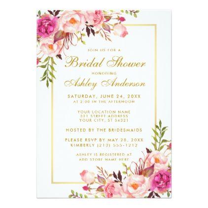 Pink Blush Gold Floral Bridal Shower Invitation Zazzle Com Gold Wedding Invitations Floral Bridal Shower Invitations Blush Gold Wedding