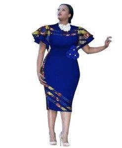 3795d2149e97d Bazin Riche Customized African Print Sleeve Knee Summer Women Party ...