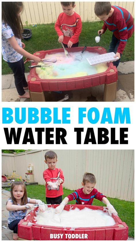 Bubble Foam Water Table: An Outdoor Activity - Busy Toddler
