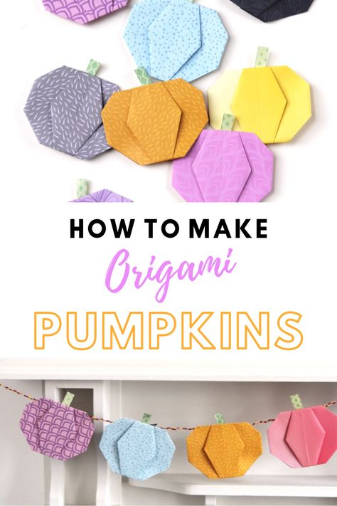Learn how to make an origami pumpkin garland for Halloween with this easy tutorial. The perfect decoration for Autumn Learn how to make an origami pumpkin garland with this easy tutorial. The perfect decoration for Autumn and Halloween. Origami Simple, Origami Love, Origami Fish, How To Make Origami, Origami Design, Origami Folding, Origami Flowers, Paper Folding, Origami Ball