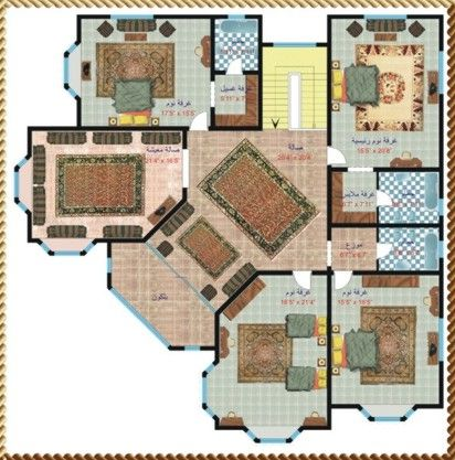 مخطط فلل 2014 بتقسيمات ارضي واول علوي ميكساتك Dream House Rooms Villa Design House Plans