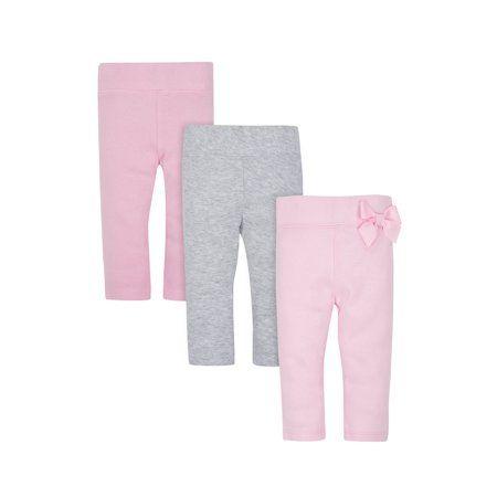 Gerber Baby Girl 2-Pack Organic Cotton Pink//Gray Pants Size 3-9M