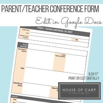 Parent Teacher Conference Form Edit In Google Docs Parents As Teachers Teacher Conferences Parent Teacher Conferences
