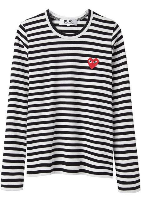 Comme Des Garçons Play Emblem Stripe Tee Cos Hellblau Weiß Gestreift Aus München Bzw H Und M Gestreiftes Shirt