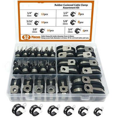 Details About 52x Stainless Steel Cable Clamp Assortment Set Rubber Cushion Insulated Clamp Cs In 2020 Stainless Steel Cable Steel Clamps
