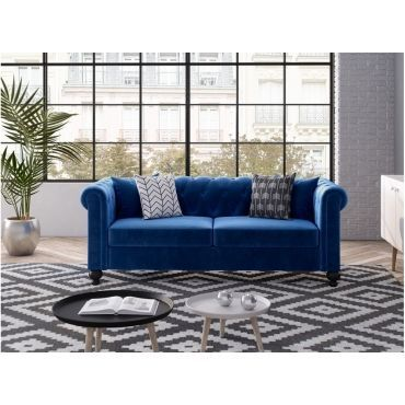 Canape Chesterfield Alfred 3 Places En Velours Bleu Canape Chesterfield Canape Canape Droit
