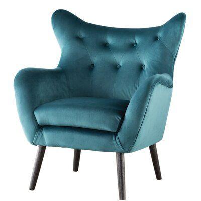 Bouck 21 Wingback Chair Fabric Velvet Dark Teal In 2020 Wingback Chair Armchair Living Room Furniture Sale