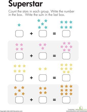 Number Sentence Superstar Addition First Grade Math Worksheets