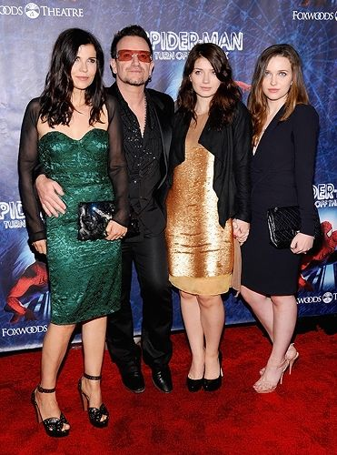 Ali Hewson and Bono pose with their daughters Eve Hewson and Jordan Hewson at the Broadway opening of 'Spider-Man Turn Off The Dark.'