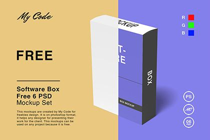 Free Software Box Mockup Features 6 Psd Of Packaging Box Mockup In Psd Format With 300 Dpi Resolution That Is Fully Free In 2021 Mockup Free Psd Box Mockup Free Mockup