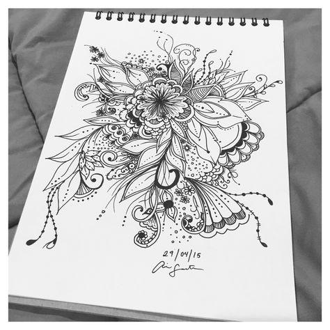 Aira Santos | Floral free hand drawing | 29.04.15