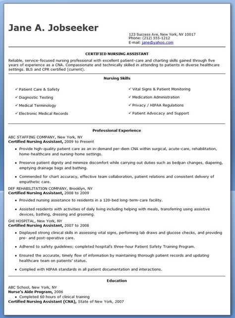 Free Sample Certified Nursing Assistant Resume resume Pinterest - stna resume sample