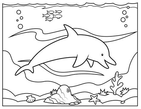 Desenho De Golfinho No Fundo Do Mar Para Colorir Folhas Para