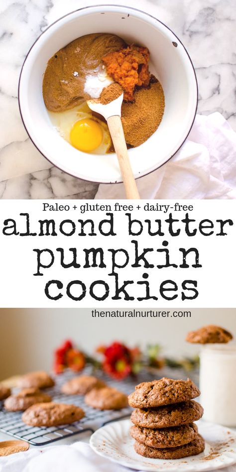 Almond Butter Cookies {Paleo, dairy-free, gluten free} Possibly the easiest cookies you can whip up when a craving hits, Pumpkin Almond Butter Cookies are going to be your new fall jam! Made from 7 squeaky clean ingredients and whipped up in one bowl, the Paleo Dessert, Healthy Sweets, Healthy Baking, Dairy Free Cookies, Paleo Cookies, Gluten Free Pumpkin Cookies, Almond Butter Cookies, Almond Butter Snacks, Peanut Butter