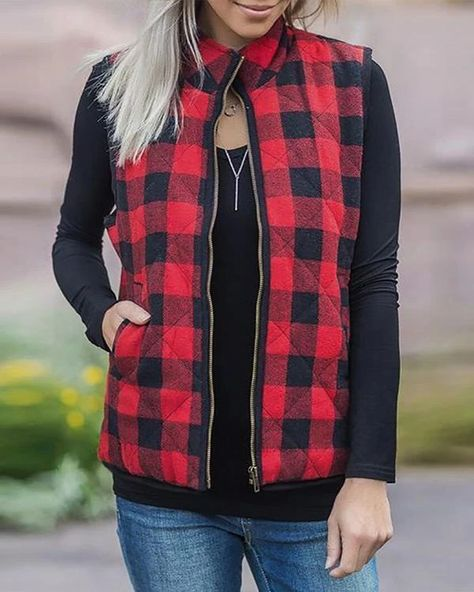Plaid Pocket Sleeveless Vest Coat without Necklace – Prilly outwear fashion outwear jacket warm coat outfit coats for women #fallcoats#warm#casualcoats