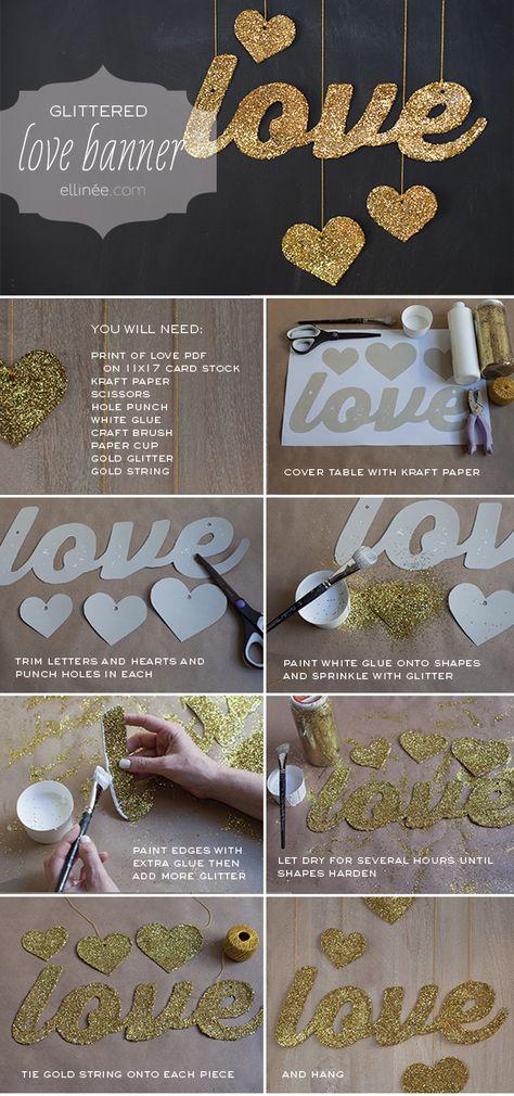 "NEW Happy Valentines Felt Banner With Heart Glitter Garland 78/"""