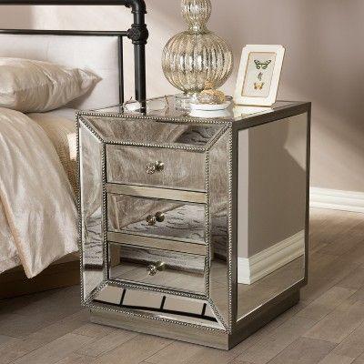 Currin Contemporary Mirror 3 Drawer Nightstand Silver Baxton Studio Mirrored Bedroom Furniture Furniture Black Bedroom Furniture
