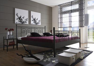 Metallbett schwarz 180x200  Bett Brit Quilt - Vintage - Low Headboard 180 x 200 bei Villatmo ...