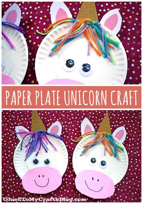 Super Easy Paper Plate Unicorn – Kid Craft - - It's a kid craft that sparkles ALL YEAR long! Today I present to you our super easy Paper Plate Unicorn kid craft tutorial! Paper Plate Crafts For Kids, Spring Crafts For Kids, Paper Crafting, Art For Kids, Art Ideas For Teens, Art Projects For Adults, Toddler Art Projects, Super Easy Crafts For Kids, Easy Crafts With Paper