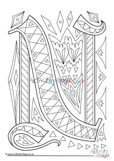 Illuminated Letter N Colouring Page Letter A Coloring Pages Coloring Pages Birthday Coloring Pages