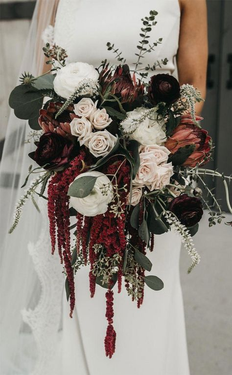 36 Fall Wedding Bouquets For Autumn Brides Fall Wedding Bouquets For Autumn Brides ★ fall wedding bouquets cascade burgundy bouquet roses. Cascading Wedding Bouquets, Bridal Bouquet Fall, Fall Bouquets, Fall Wedding Flowers, Wedding Flower Arrangements, Bride Bouquets, Floral Wedding, Red Bridal Bouquets, Fall Wedding Themes