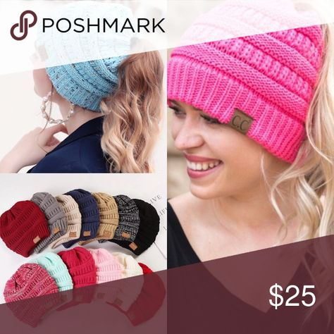 Ponytail Knit Beanie Hat Messy bun ponytail lovers and beanie wearers  UNITE. You can now wear a messy bun or ponytail and a beanie all at the  same time ... 079331b7c4b2