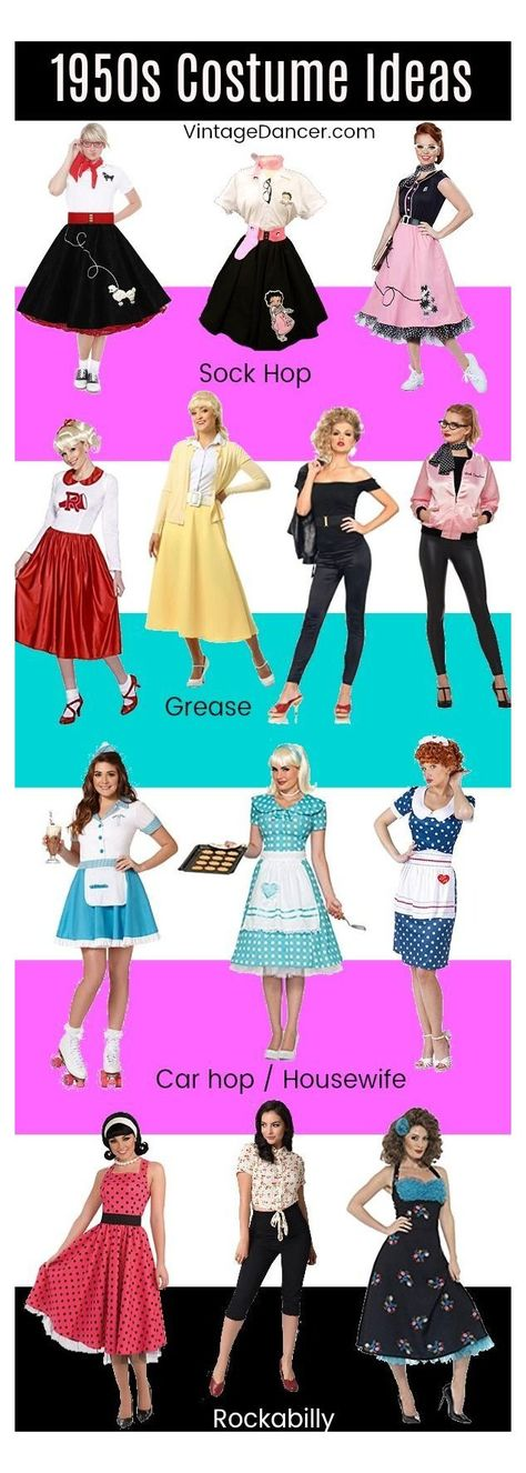 Grease Outfits, Grease Costumes, Sock Hop Costumes, Pin Up Costumes, Grease Party Costume, Family Costumes, Group Costumes, Diy Costumes, Sock Hop Outfits