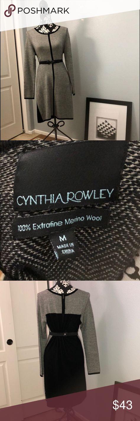 d2ee76fbbe8 Women s Long Sleeved Sweater Dress Cynthia Rowley Black   White Chevron  Striped Long Sleeved