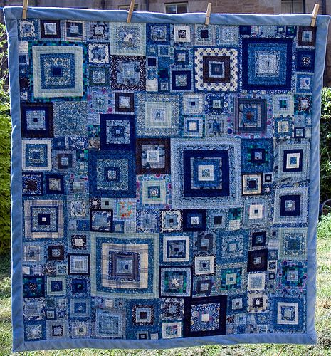 Jeweled Squares from book Glorious Patchwork by Kaffe Fassett. Quilting was done down the center of each fabric strip, making concentric squares of quilting for each square. Blue Quilts, Scrappy Quilts, Denim Quilts, Denim Fabric, Monochromatic Quilt, Quilt Inspiration, Sew Mama Sew, Log Cabin Quilts, Square Quilt
