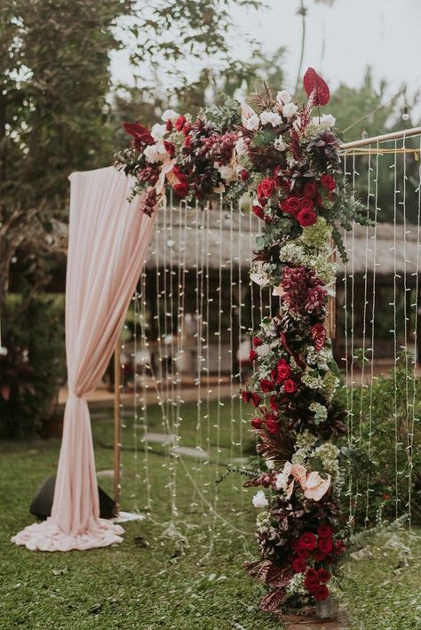 Vintage-Inspired Tropical Wedding in Vietnam with Burgundy Flowers ⋆ Ruffled Tropical meets glam in this stunning wedding in Vietnam. With bold colors and glittering tablecloths this destination we. Wedding Ceremony Ideas, Fall Wedding Arches, Wedding Altars, Outdoor Ceremony, Wedding Reception, Burgundy Wedding, Red Wedding, Perfect Wedding, Wedding Colors
