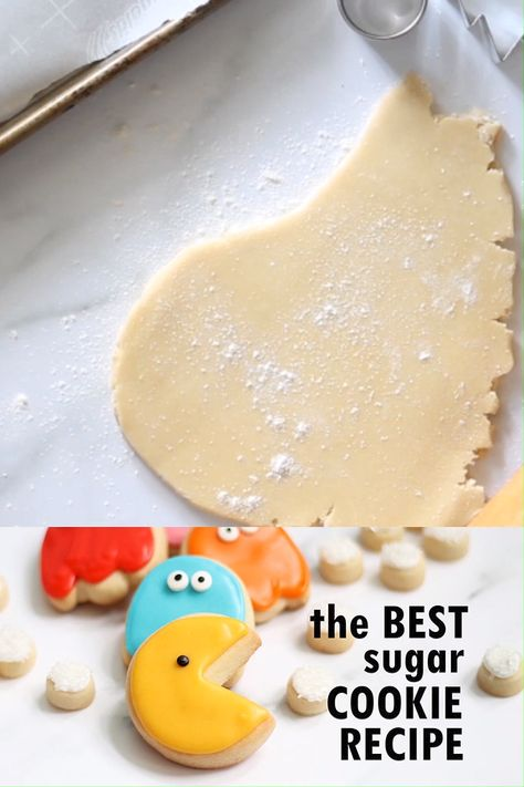 The BEST cut-out sugar cookie recipe for cookie decorating!  This cut-out sugar cookie recipe has just a few ingredients, never spreads, and is crazy delicious. Pair with perfect royal icing for easy, beautiful decorated cookies. Find recipes at : TheDecoratedCookie.com