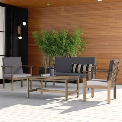 Lindsey 4 Piece Sofa Seating Group With Cushions In 2020 Outdoor Sofa Sets Seating Groups Contemporary Outdoor Sofas