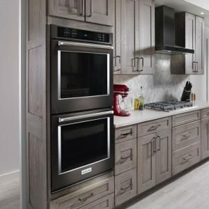 Kitchenaid 30 In Double Electric Wall Oven Self Cleaning With Convection In Black Stainless Kode500ebs The Electric Wall Oven Double Oven Kitchen Wall Oven
