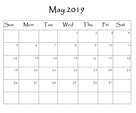 May 2019 Calendar Word Monthly Calendar Templates Pinterest
