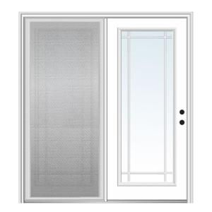 Steves Sons 72 In X 80 In Clear Mini Blind Primed White Prehung Rhis Fiberglass Centerhinge Patio In 2020 Hinged Patio Doors Patio Doors French Doors With Screens