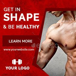 Fitness And Gym Ad Banners Ar Banner Ads Fitness Logo Design Ads