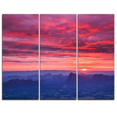 Design Art Red And Blue Winter Mountains 3 Piece Graphic Art On Wrapped Canvas Set In 2020 Sunrise Art Art Sunrise Painting
