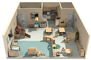 3D sample Montessori classrooms for infant, toddler, and school age.