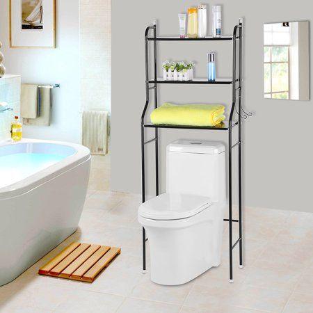 Amazon Com Home Basics 3 Over The Toilet Bathroom Space Saver Shelf Bathroom Storage Shelf White Home Kitchen