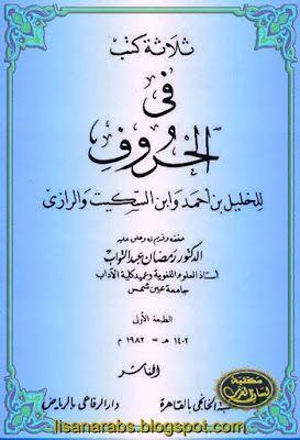 ثلاثة كتب في الحروف للخليل بن أحمد وابن السكيت والرازي تحقيق رمضان عبد التواب دار الرفاعي Books Blog Posts Blog