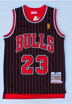 Michael #23 Throwback Chicago Bulls Black Pinstripes Mens Basketball Jersey Vest
