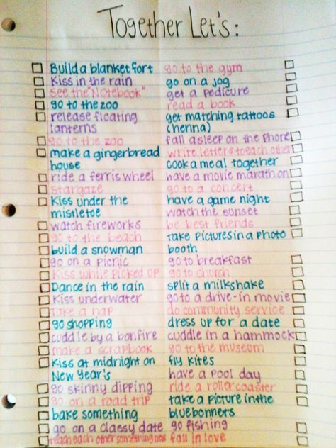 Relationship bucket list. so cute all except for skinny dipping ew