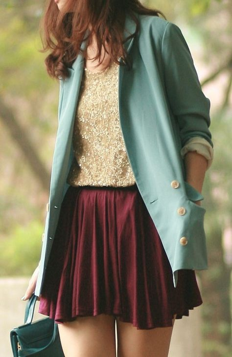 Great colors; oxblood skirt, gold top and mint blazer.