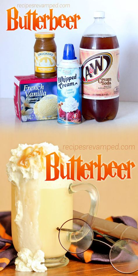 Butterbeer - This very tasty drink is easy to whip up and would be great with a large bowl of buttery popcorn. Your family and tastebuds will thank you! Kid Drinks, Summer Drinks, Beverages, Frozen Drinks, Party Drinks, Party Snacks, Frozen Drink Recipes, Summer Drink Recipes, Fun Cocktails