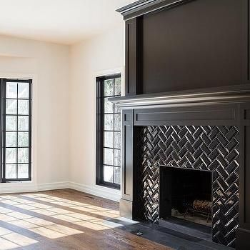 Black Herringbone Fireplace Mantel Tiles Herringbone Fireplace Black Fireplace Mantels Black Fireplace