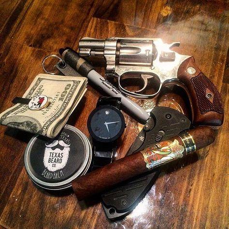 "cigars-and-guns: ""by "" Cigars And Whiskey, Good Cigars, Pipes And Cigars, Cuban Cigars, Edc Carry, Edc Everyday Carry, Rifle, Cigar Art, Cigar Club"